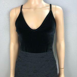 Boohoo Black Velvet Bodysuit Spaghetti Strap